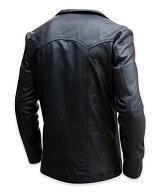 mens four button black color leather coat backside