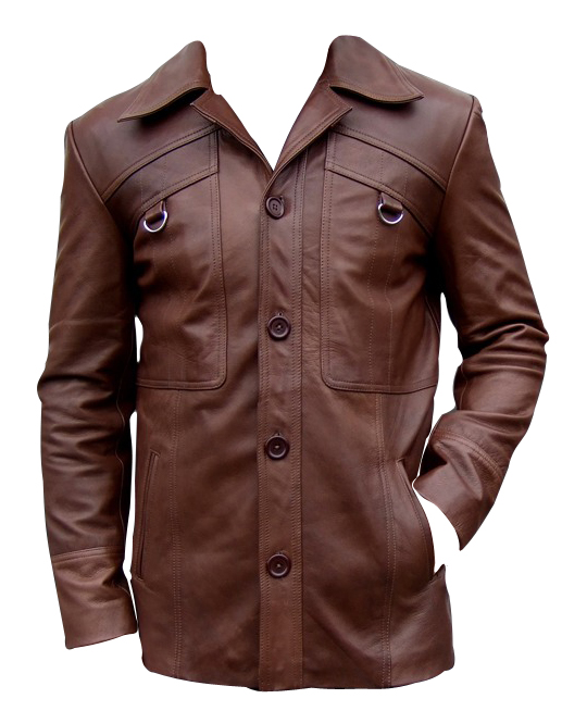mens four button brown color leather coat