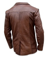 mens four button brown color leather coat backside
