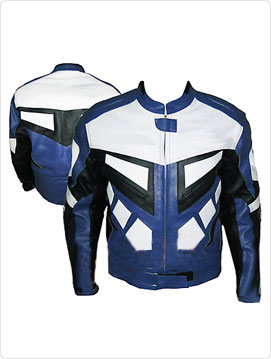 motorbike racing leather jacket in black white blue colour
