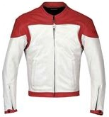 Red and White Motorcycle Leather Jacket