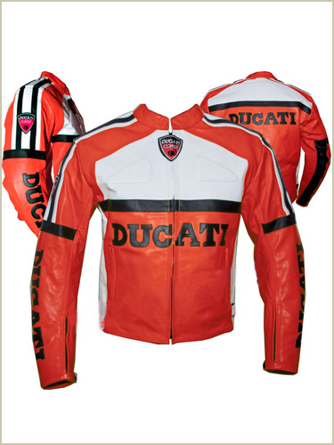 red and white color ducati motorcycle leather jacket