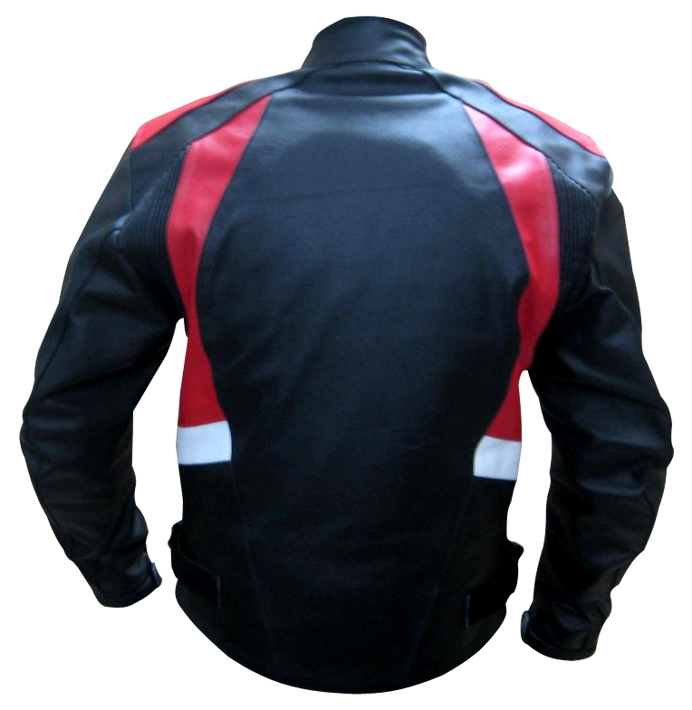 stylish fashion motorbike leather jacket backside