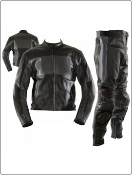 two 2 piece black colour motorbike leather suit