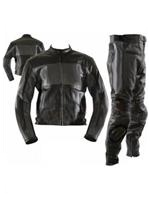 two 2 piece black colour motorbike leather suit