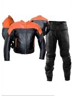 Two piece orange black colour motorbike leather suit