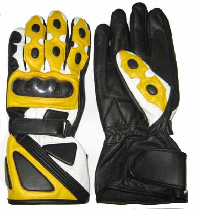 yellow color motorcycle leather gloves